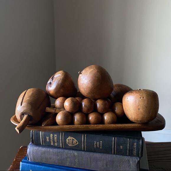 SOLD - Mid Century Monkey Pod Wooden Fruit